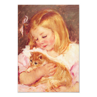 Little Girl with Cat Invitations