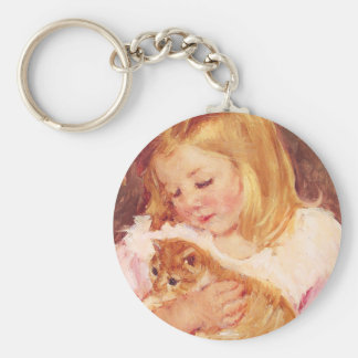 Little Girl with Cat Key Chain