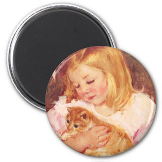 Little Girl with Cat Magnet