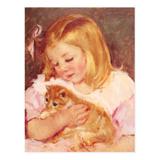 Little Girl with Cat Postcard