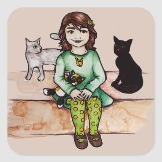 Little girl with cats square sticker