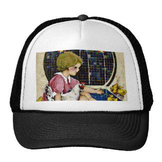 Little Girl with chicks Trucker Hat