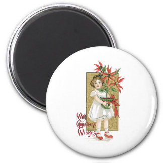Little Girl with Christmas Flowers 2 Inch Round Magnet