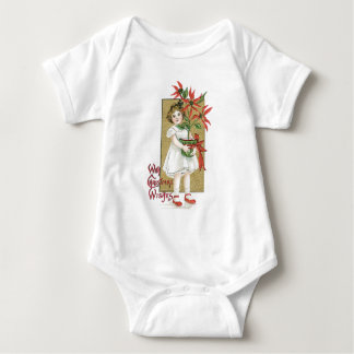 Little Girl with Christmas Flowers Baby Bodysuit