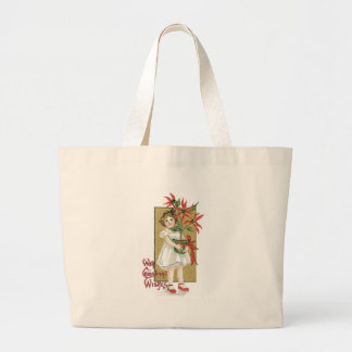 Little Girl with Christmas Flowers Tote Bag