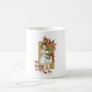 Little Girl with Christmas Flowers Mug