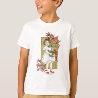 Little Girl with Christmas Flowers T-Shirt