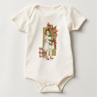 Little Girl with Christmas Flowers Baby Bodysuits