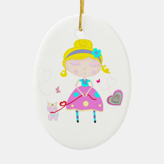 Little girl with cute cat illustration ceramic ornament
