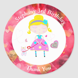 Little girl with cute cat illustration classic round sticker