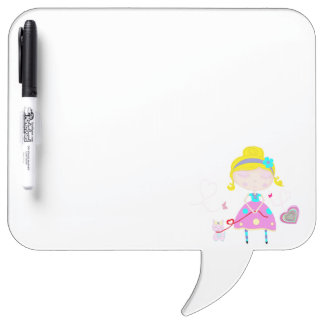 Little girl with cute cat illustration dry erase board