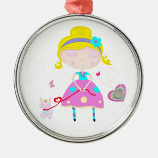Little girl with cute cat illustration metal ornament