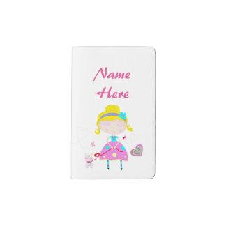 Little girl with cute cat illustration pocket moleskine notebook