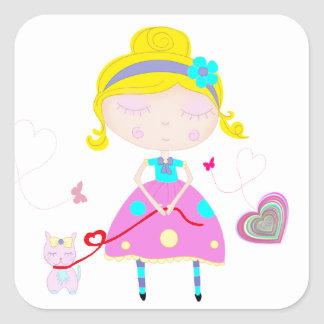 Little girl with cute cat illustration square sticker