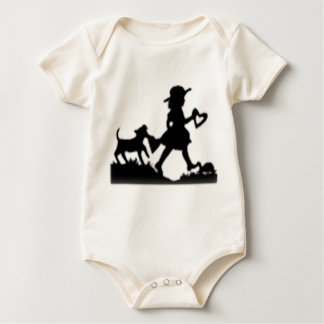 Little Girl with Dog and Heart walking silhouette Baby Bodysuit