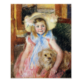 Little Girl with Dog Poster