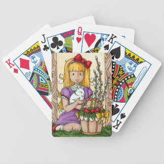 Little Girl with Easter Bunny Bicycle Playing Cards