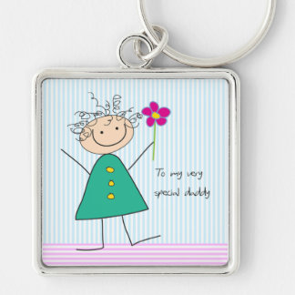 Little Girl with Flower Father's Day Keychain