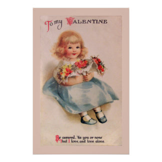 Little Girl with Flowers Poster