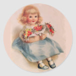 Little Girl with Flowers Stickers