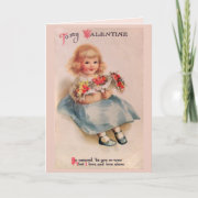 Little Girl with Flowers Valentine Greeting Card
