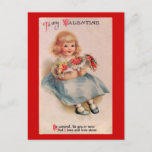 Little Girl with Flowers Vintage Valentin Postcard