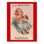 Little Girl with Flowers Vintage Valentin Postcard