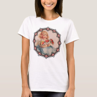 Little Girl with Flowers Womens T-Shirt