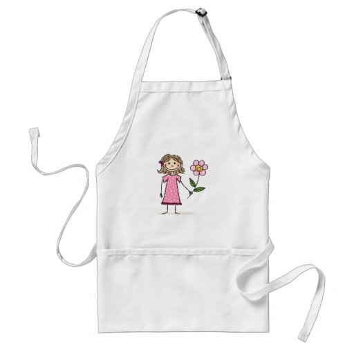 Little girl with happy flower adult apron