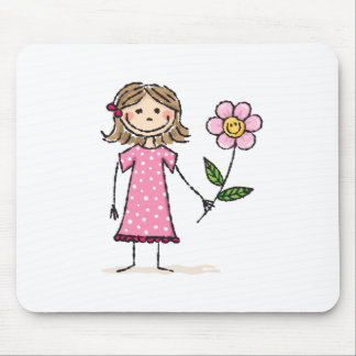Little girl with happy flower mouse pads