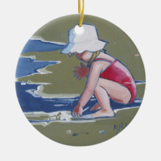 Little girl with hat on beach with waves ceramic ornament