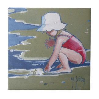 Little girl with hat on beach with waves ceramic tile