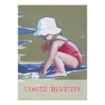 Little girl with hat on beach with waves invitation