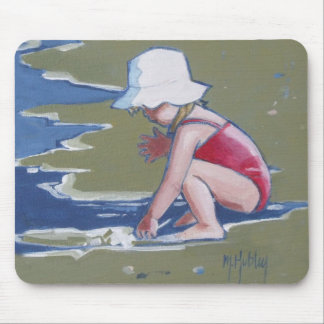 Little girl with hat on beach with waves mouse pad