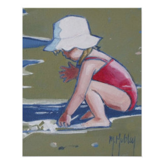 Little girl with hat on beach with waves poster
