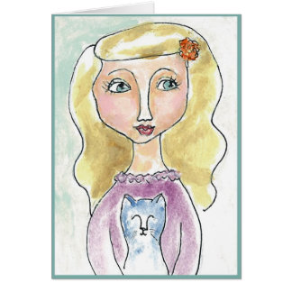 Little girl with her blue kitty card