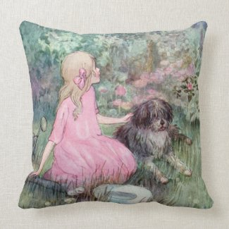 Little Girl with Her Dog Anne Anderson Fine Art Throw Pillow