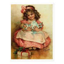 Little girl with her doll and Christmas gift Postcard