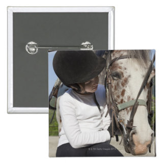 Little girl with her horse 2 inch square button