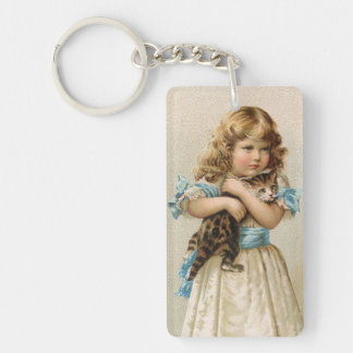 Little Girl with her Kitty Rectangle Acrylic Key Chain