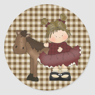 Little Girl with her Pony Fun Stickers Seals