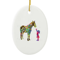 Little girl with horse ceramic ornament