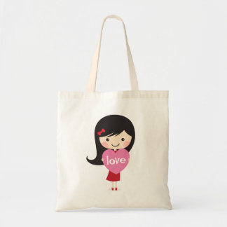 Little girl with love heart canvas bags