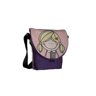 Little Girl with Pigtails and a Big Smile (PINK) Courier Bag