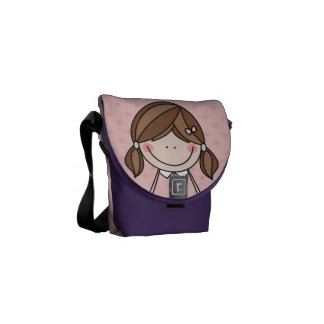 Little Girl with Pigtails and a Big Smile (PINK) Messenger Bags