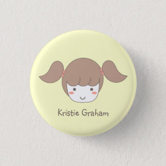 Little Girl with Pigtails Button