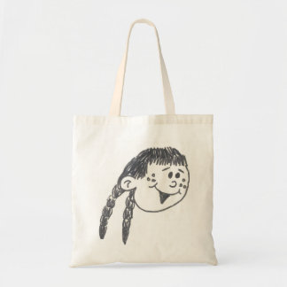 Little Girl with Pigtails Tote Bag