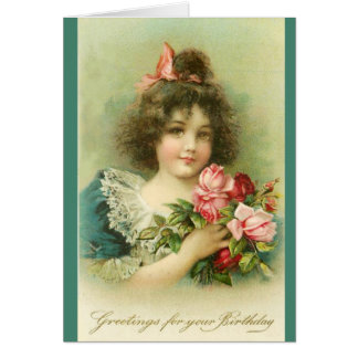 Little Girl with Pink Roses ,Birthday Card