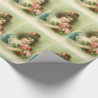 Little Girl with Pink Roses ,Birthday Party Wrapping Paper