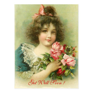 Little Girl with Pink Roses ,Get Well Soon Postcard